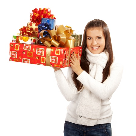 20 s: young brunette girl holding gifts