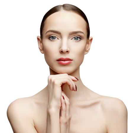 the caucasian beauty: Beautiful Face of Young Woman with Clean Fresh Skin close up isolated on white. Beauty Portrait. Beautiful Spa Woman Smiling. Perfect Fresh Skin. Pure Beauty Model. Youth and Skin Care Concept