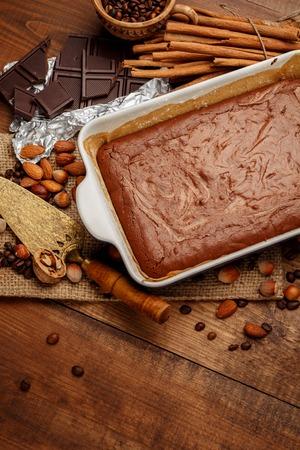 ingridients: homemade chocolate cake on a baking sheet