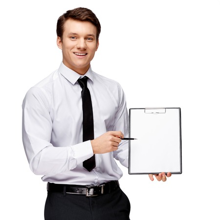 plane table: Handsome stylish caucasian businessman on white background with copy space