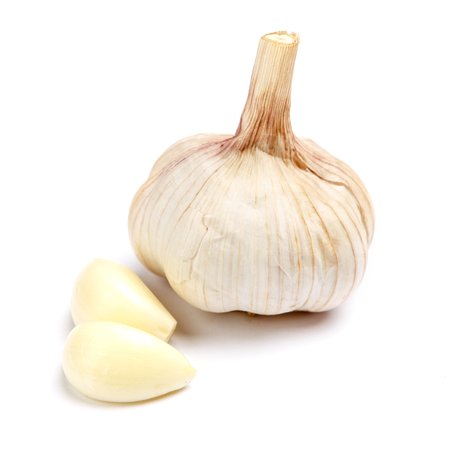 aftertaste: studio shot of garlic isolated on a white background Stock Photo