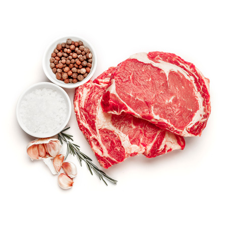 Uncooked organic shin of beef meat isolated on a white background Stockfoto