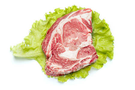 Uncooked organic shin of beef meat isolated on a white background Stock Photo