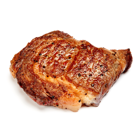 chops: Roasted organic shin of beef meat isolated on a white background