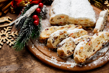 traditional German cake with raisins Dresdner stollen. Christmas treat