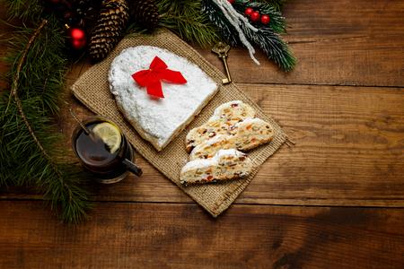 erzgebirge: traditional German cake with raisins Dresdner stollen. Christmas treat