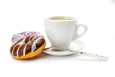 studio shot of tasty donuts isolated on white background