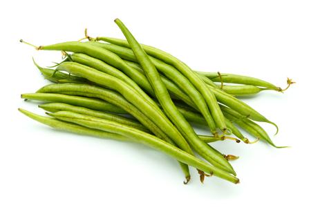 snap bean: fresh organic green beans on white background