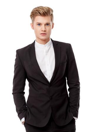 Portrait of a young handsome business man. Studio shot