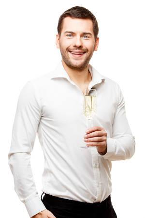 champaign: Young man carries glass of champaign isolated on white