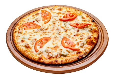 unsliced: fresh tasty pizza on wooden plate with clipping path
