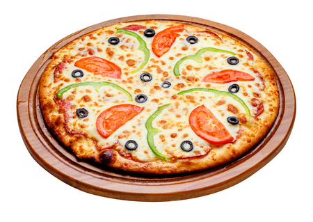 fresh tasty pizza on wooden plate with clipping path