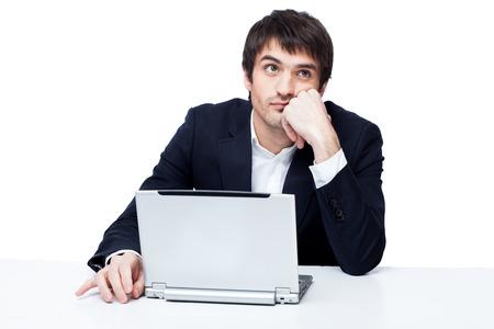 Müde Geschäftsmann bei der Arbeit Standard-Bild - 65574887