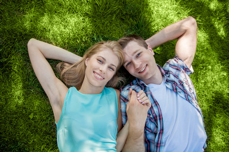 field depth: Happy young people outdoors
