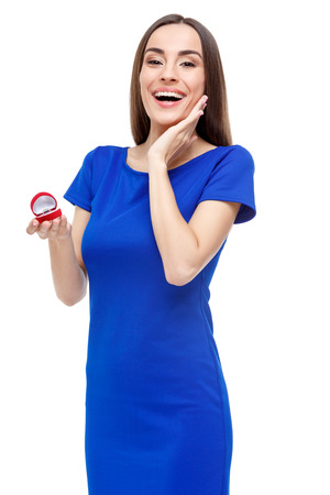 heart shaped box: Valentines Day. Beautiful woman holding heart shaped box with ring