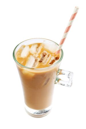 macchiato: Iced coffee or latte in glass cup on white background