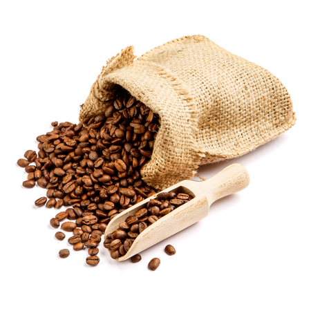 roasted coffee beans in bag isolated on white background cutout