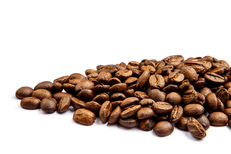 roasted coffee beans isolated on white background cutout