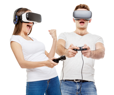 Man and woman with virtual reality goggles Stockfoto