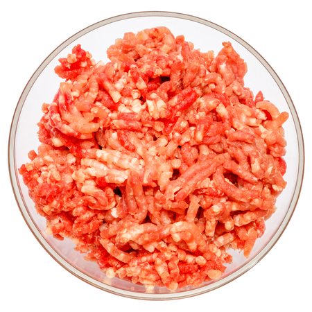 farce: Minced meat of stuffing in glass bowl