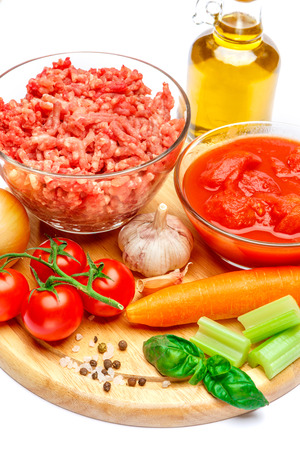 ingridients: tradition italian lasagna ingridients on cutting board