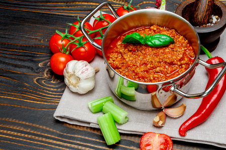 ingridients: bolognese sauce ingridients on wooden table Stock Photo