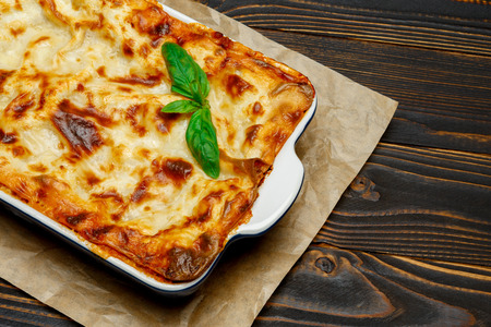 Lasagna in baking dish