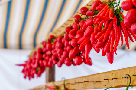 Rows of chilli peppers hang together Stock Photo