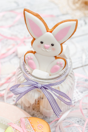 Beautiful bunny glazed Easter cookie