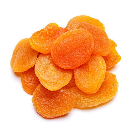 Dried apricot close-up isolated on a white background 스톡 콘텐츠