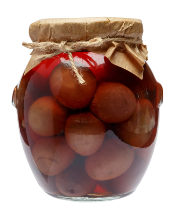 Glass Jar of Pickled Black Olives on White Background Standard-Bild