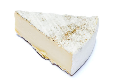 traditional french brie cheese on a white background. Clipping path