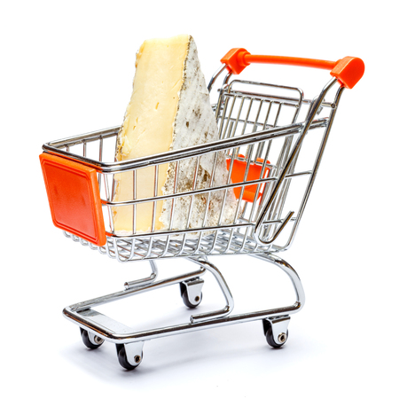 traditional french brie cheese in shopping cart on a white background
