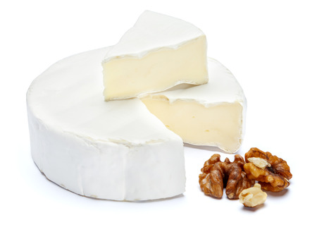 Round brie or camambert cheese on a white background Stock fotó - 93409078