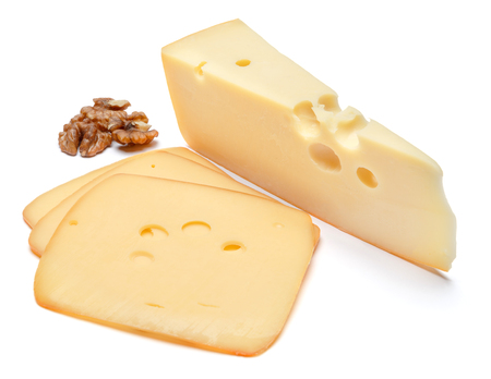 swiss cheese or cheddar on white background Stock Photo