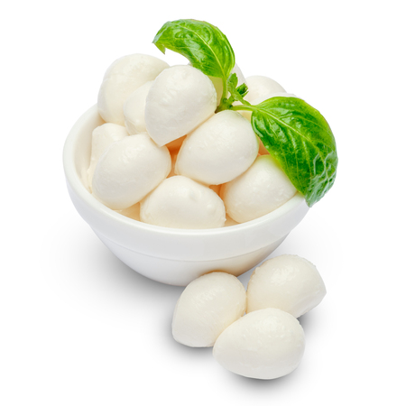 Mozzarella cheese and basil in bowl on white background