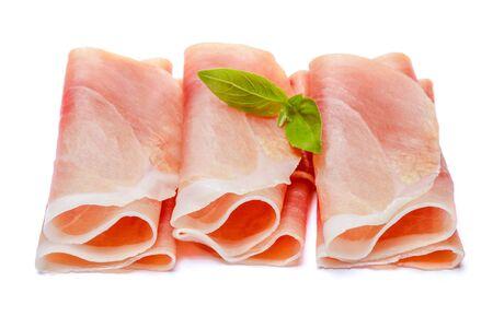 Italian prosciutto crudo or spanish jamon. Raw ham on white background.