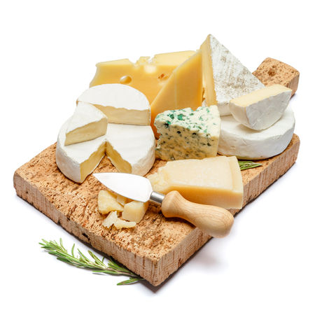 Various types of cheese - parmesan, brie, roquefort, cheddar Stock Photo