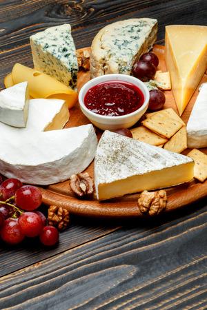 Various types of cheese - parmesan, brie, roquefort, cheddar Stok Fotoğraf