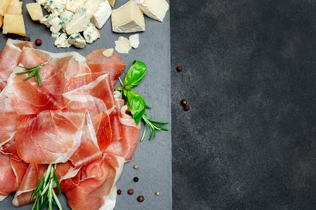 Italian prosciutto crudo or spanish jamon and cheese