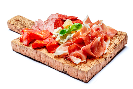 Italian prosciutto crudo or spanish jamon and cheese