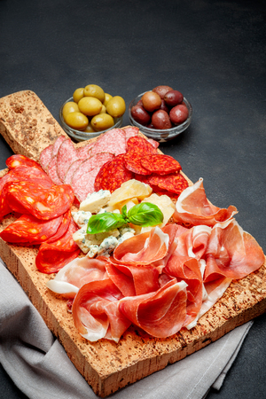 Italian prosciutto crudo or spanish jamon, cheeseand olives