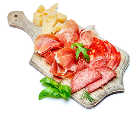 Italian prosciutto crudo or spanish jamon, sausage and cheese