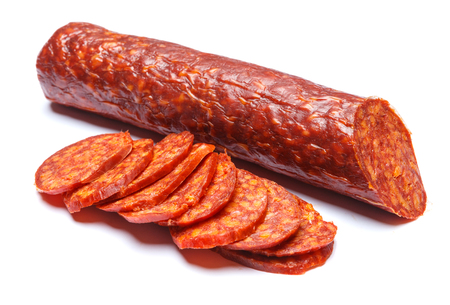 Spanish chorizo sausage on white background