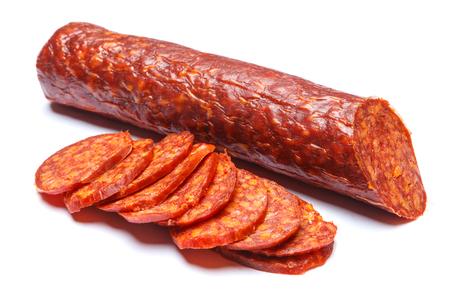 Spanish chorizo sausage on white background