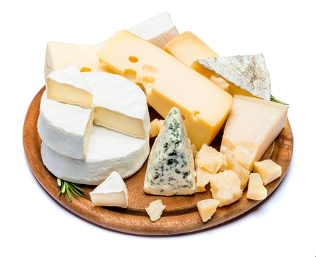 various types of cheese - brie, camembert, roquefort and cheddar on wooden board Stock fotó - 100052818