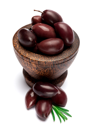 black olives isolated in wooden bowl on white background