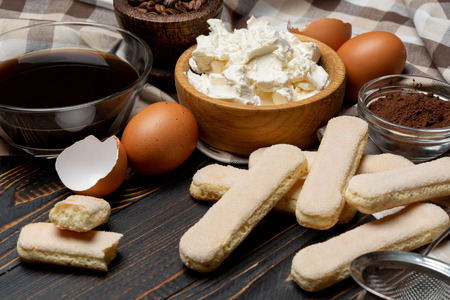 Ingredients for making traditional Italian dessert Tiramisu Stock Photo