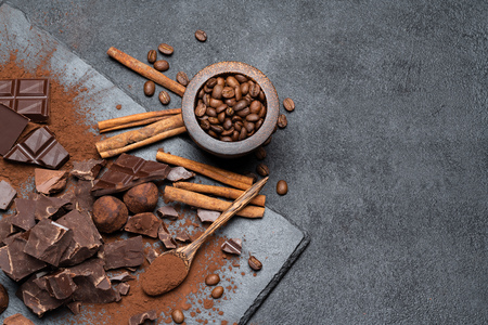 Dark or milk organic chocolate pieces and cocoa powder on dark concrete backgound Reklamní fotografie