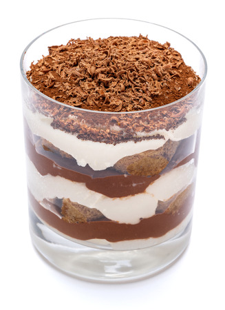 Classic tiramisu dessert in a glass isolated on a white background with clipping path Stockfoto